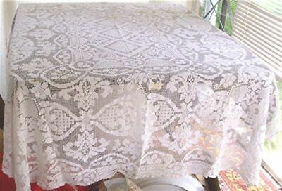 """VTG ITALIAN FILET LACE HAND KNOTTED TABLECLOTH FLOWERS LEAVES 56"""" x 70"""""""