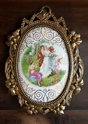 Antique French Angelic Hand Painted Porcelain Plaque With Ormolu Brass Frame