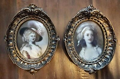Pair Of Antique German Hand Painted Portrait On Celluloid Framed