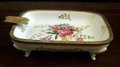 Antique Ormolu French Limoges Bronze Trim Enamel Footed Ashtray Trinket Dish