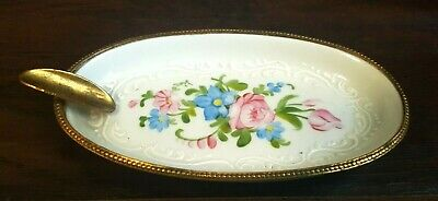 Antique French Limoges Ormolu Hand Painted Enamel Bronze Trim Ashtray Trinket