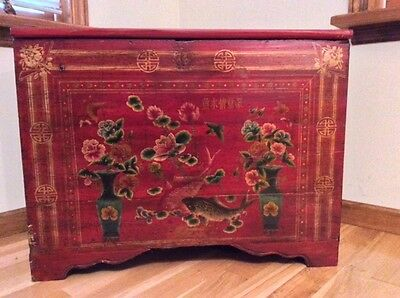 REDUCED PRICE Antique Red Hand-painted Chinese Cabinet/Chest 19th C