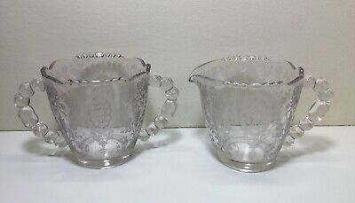 Antique Light Amethyst Fostoria Etched Crystal  Sugar & Creamer Bubble Handles