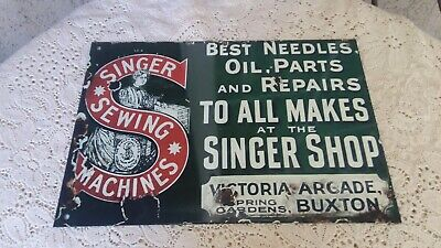 Vintage Metal SINGER SEWING MACHINE Sign UNIQUE