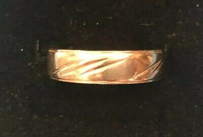 Vintage 14k Yellow Gold Art Carved Band Size 10.5