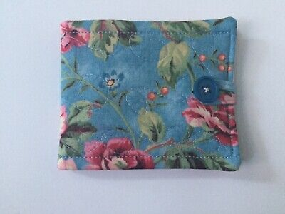 Needlecase fabric Aqua floral Felt page inside Gift Present Needles Book Quilted