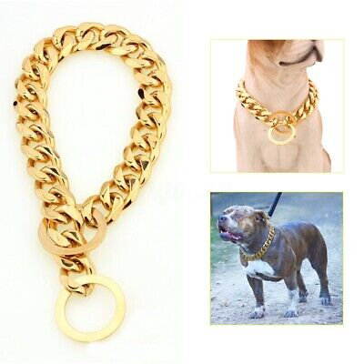"15MM Pet Collar Dog Cat Choker Stainless Steel Chain Cuban Curb Link 12""-34"" Lot"