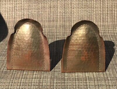 Antique Hand Hammered Arts And Crafts Copper Signed Roycroft Bookends