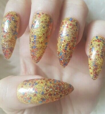 20 Hand Painted False Nails. Yellow Glitter. Pick length & shape