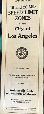 1920s Original Road Map Los Angeles Speed Zone 15-20 MPH Unique Drawings