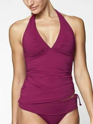 ATHLETA Shirrendipity Halter Tankini Top Exotic Fuchsia Pink Plum - Small - NWT