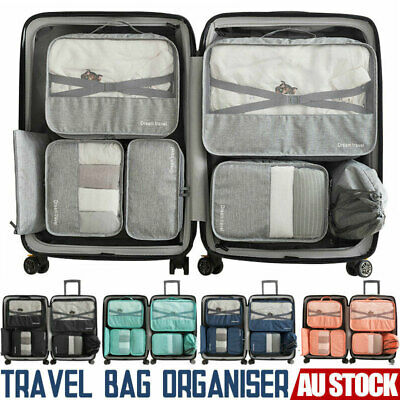 AU Packing Cubes Travel Pouch Luggage Organiser Clothes Suitcase Storage Bags