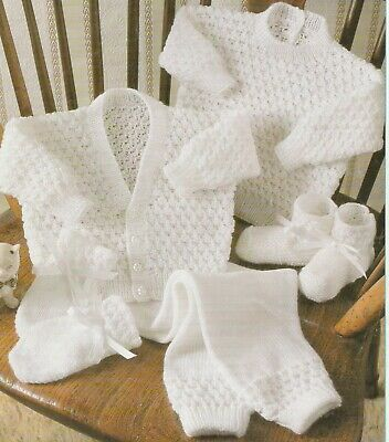 Baby Toddler Knitting Pattern copy 3 Ply Jumper CARDIGAN Pants BOOTIES Mittens