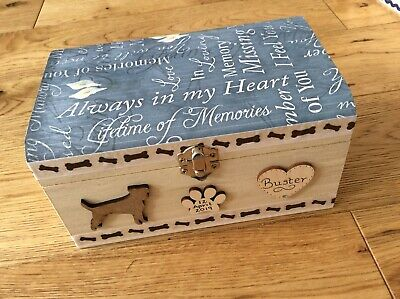 Dog Pet In Loving Memory Wooden Box Ashes Personalised Gift Cremation Casket
