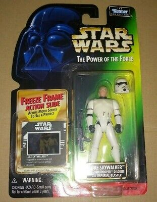Star Wars Potf Freeze Frame Luke Skywalker Stormtrooper Kenner 1997 Hasbro Moc