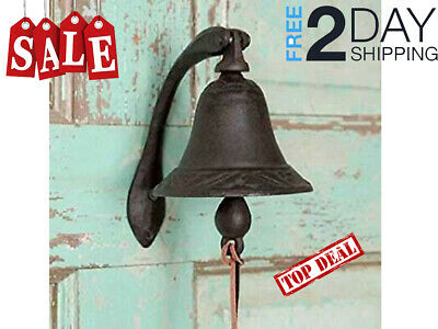 Best Small Mini Outdoor Cast Iron Logan Dinner Bell with Bracket Small Outdoor