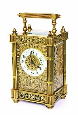 Antique French Carriage Clock Gilt Filigree On 3 Sides With Fitted Case Working