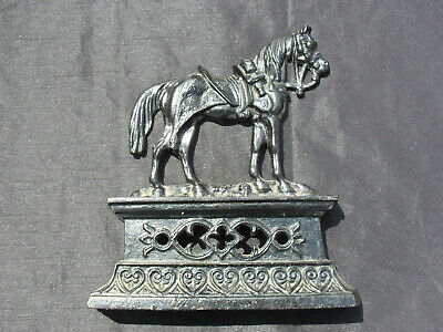Antique Late 19th Century Rowbotham Horse With Saddle Cast Iron Door Stop Stand