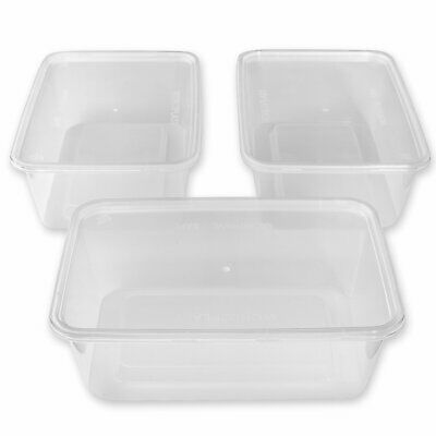 20 x Rectangular 1000ml Microwave Plastic Containers Takeaway Food Containers UK
