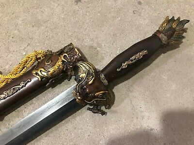 "Collectable Handmade Seven stars ""Dragon Jian"" Sword Brass Sheath"