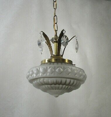 Antique Vintage Pendant Chandelier Petite Glass Globe Crystals Fancy Rewired