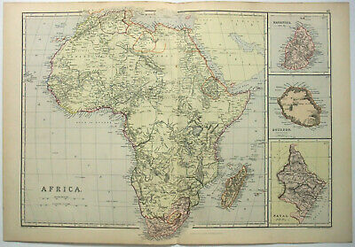 Original 1882 Map of Africa by Blackie & Son. Antique.