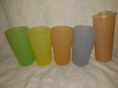 Vintage Tupperware 12 Ounce Pastel Drinking Cups; Yellow, Orange, Blue & Green