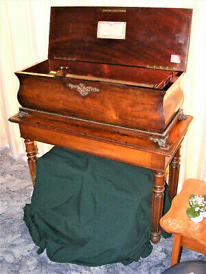 """""""VERY LARGE 10-AIR MUSIC BOX ON ITS OWN TABLE WITH HIDDEN BELLS & DRUM"""" c1880s"""