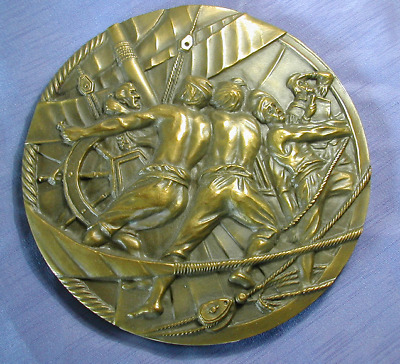 Very large bronze medal in honour of historic Portuguese explorers