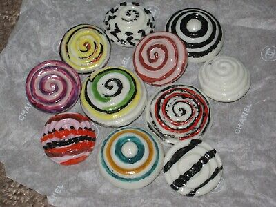Chanel 11 Ceramic  Buttons  18-22 Mm New Lot 11 No Cc Logo Mixed Colors