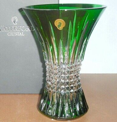 """Waterford Lismore Diamond 8"""" Vase Emerald Green Cased Crystal #162033 New In box"""