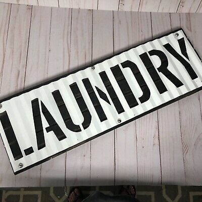Rustic Farmhouse Industrial Wood Metal Cutout Laundry Wall Hanging Sign