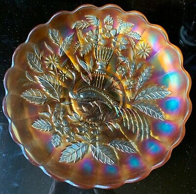 "Antique Northwood Marigold Carnival Glass ""Peacock & Urn"" Master Ice Cream Bowl"
