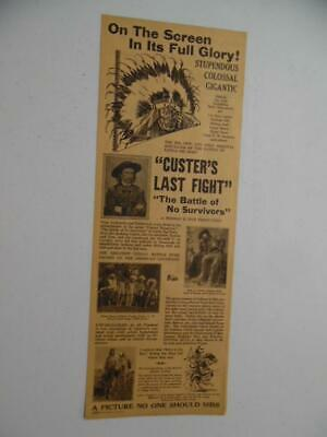 1912 CUSTER'S LAST FIGHT Silent Movie Herald R26 Thomas H. Ince Battle Big Horn