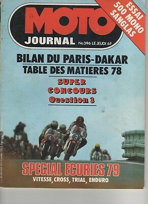 MAGAZINE MOTO JOURNAL N°396 1979 SANGLAS 500 MONO Concentration : Eléphants