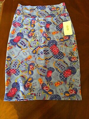 New LuLaRoe Cassie Disney Collection Mickey Mouse Watercolor Pencil Skirt Small