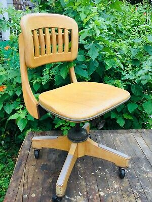 Mid Century Sikes Chair Hardwood Maple Adjustable Banker Lawyer Office Buffalo