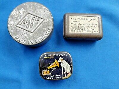 THREE SMALL VINTAGE / ANTIQUE COLLECTABLE TINS. 1920's - 30's