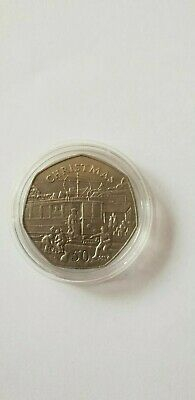 1989 Isle of Man ELECTRIC TRAM 50p Fifty Pence UNC Christmas Coin  SCARCE