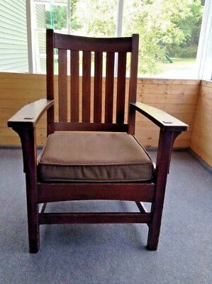 Antique L. J. & G. Stickley Six Vertical Slat Back  Oak Arm Chair
