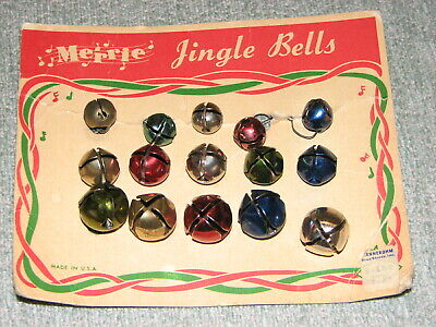 Vintage MERRIE Christmas Metal Jingle Bells Ornaments w/orig Package