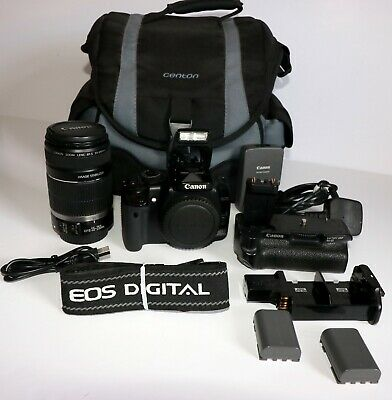 Canon EOS 400d DSLR 10.1MP Camera EFS 55-250mm 1.4-5.6 IS Lens plus Grip & Bag