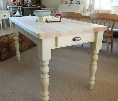 Lovely French Inspired Country Pine Farmhouse Shabby Chic Kitchen Dining Table