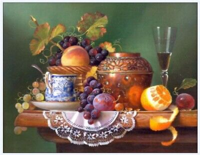 Fruit and Wine Glass Hand-painted oil painting wall art home decor 24x32 inch