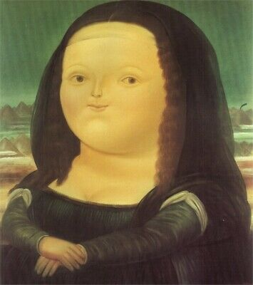 Fernando botero Mona Lisa Hand-painted oil painting wall art home decor 24X32""