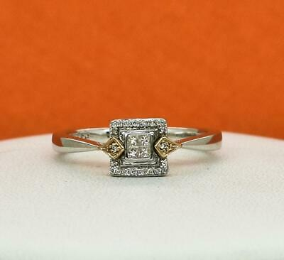Genuine .22ctw H-SI Diamond Solid 10k Rose Gold/Sterling Silver Ring