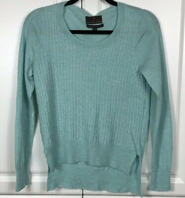 Fenn Wright Manson Merino Wool Cable Knit high low sweater pale blue size L