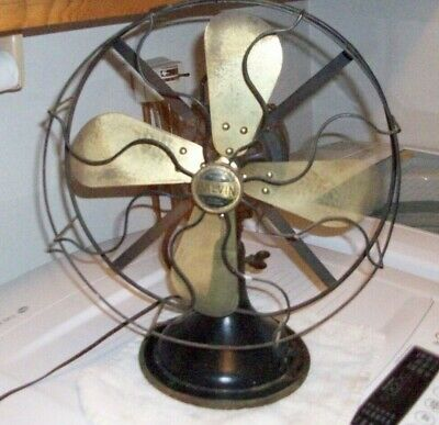 """Antique Galvin 12"""" Brass Blade Oscillating 3 Speed Electric Fan Series 52..Works"""