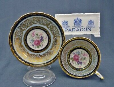 WIDE Paragon England Bone China Blue & Gold PINK Rose Tea Cup & Saucer Duo Set