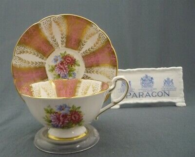 Wide Paragon England Bone China Hand Painted Flowers Pink Tea Cup & Saucer Duo
